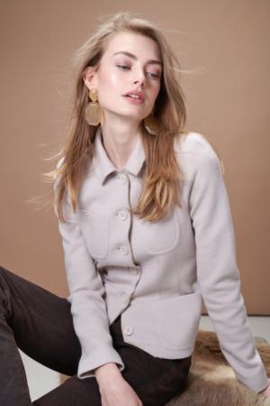 Boiled wool stretch short blazer