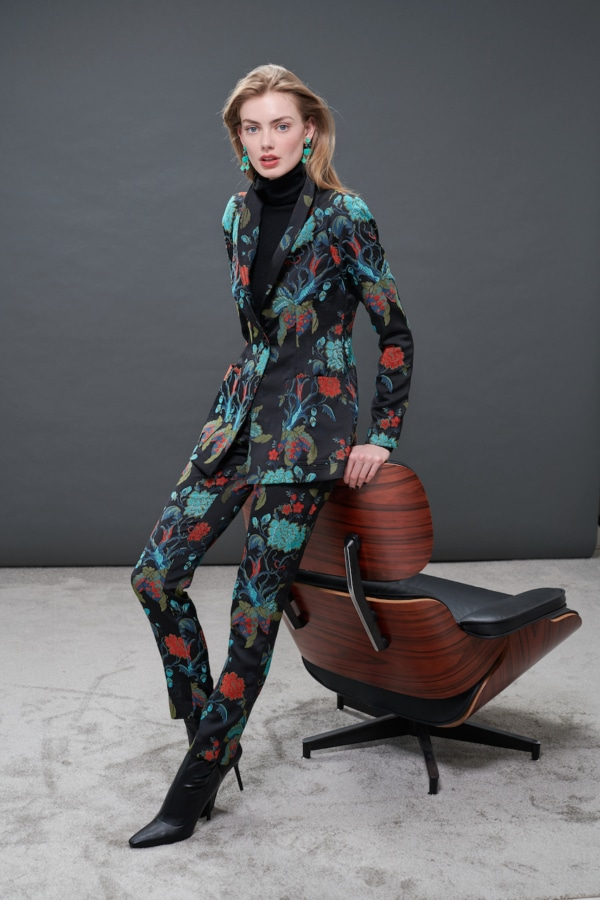 Satin flower jacquard blazer & pants