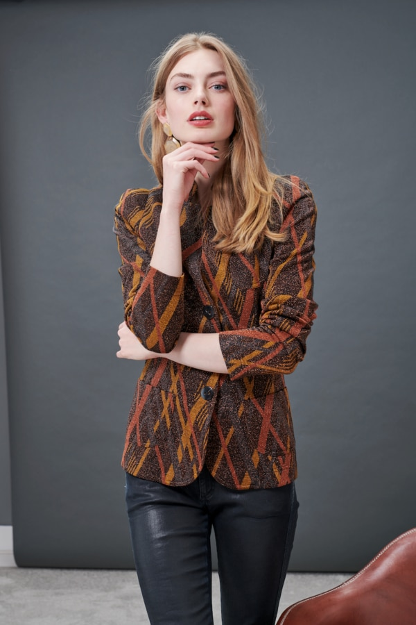 Geometrical striped jersey ladies blazer