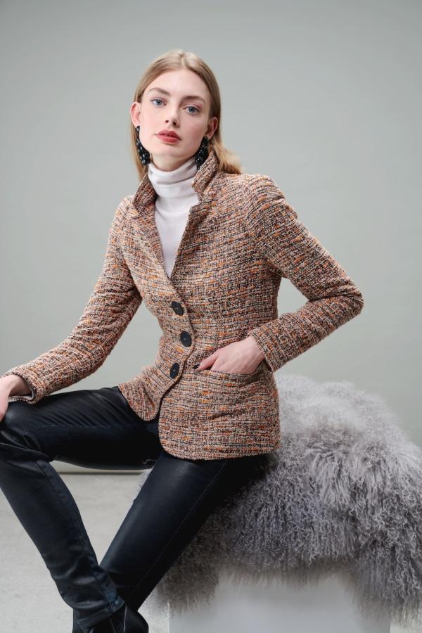 Boucle, multi-colour yarn blazer