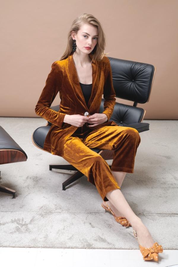Luxurious yellow ochre, velvet blazer & pants